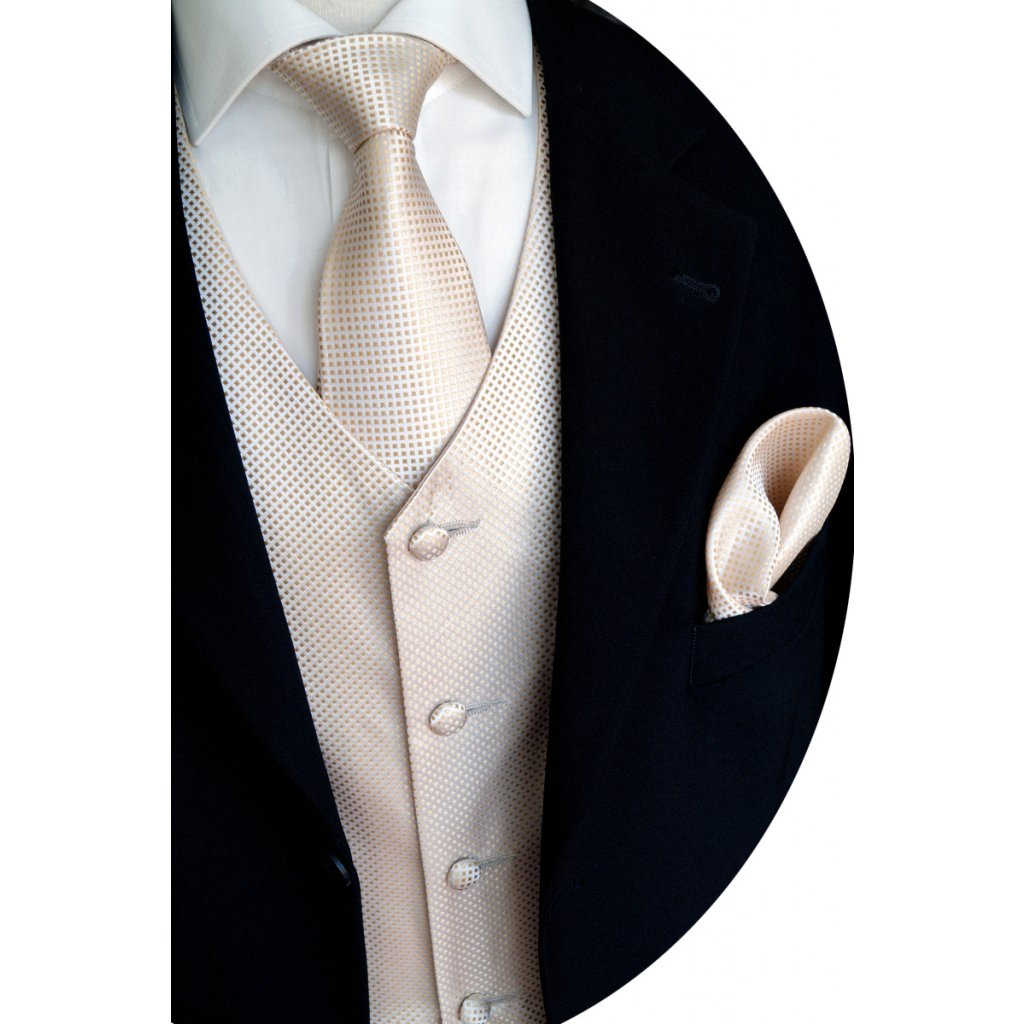 Zlatá vesta Beytnur 14-2 kravata, plastron a kapesníček