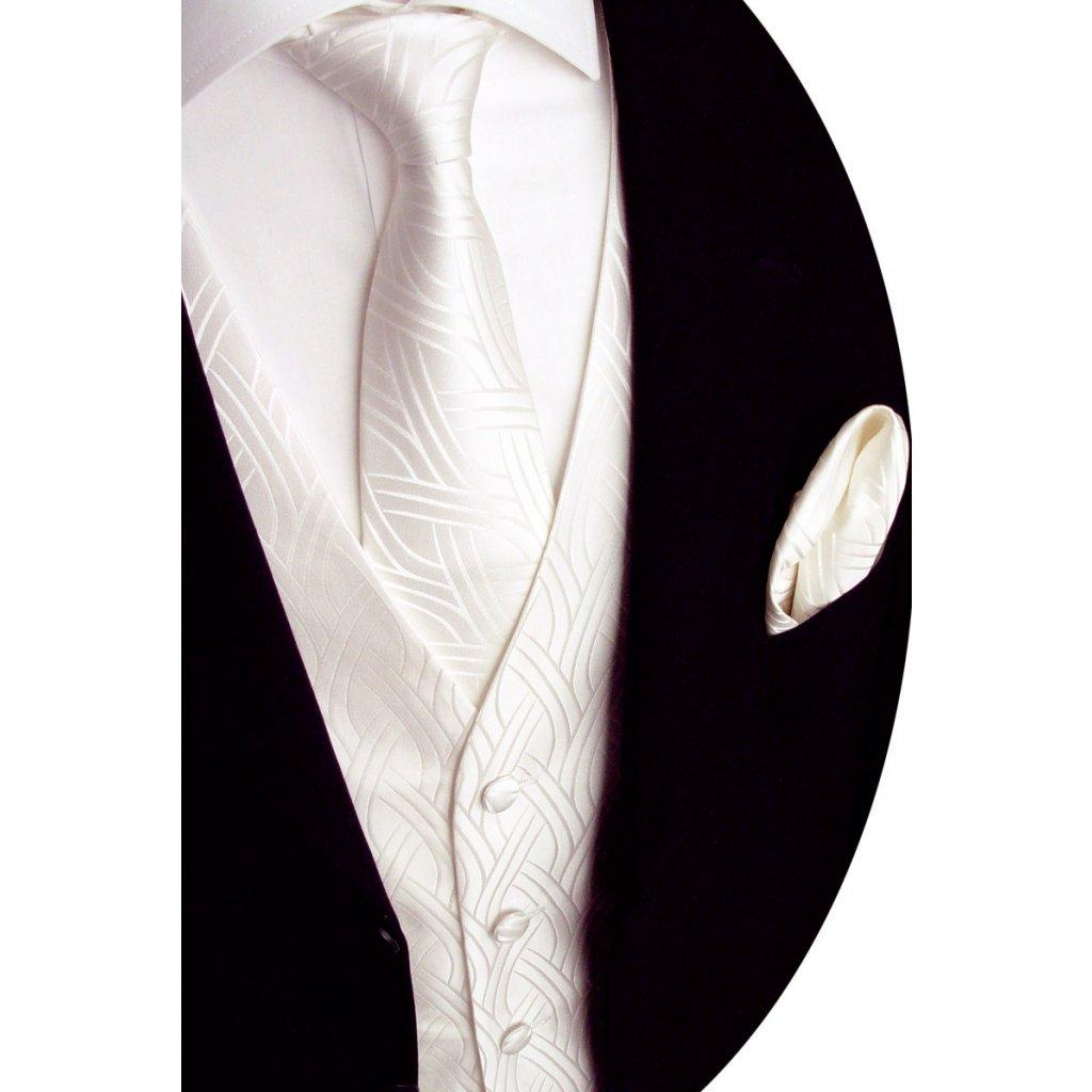 Svatební vesta ivory s kravatou