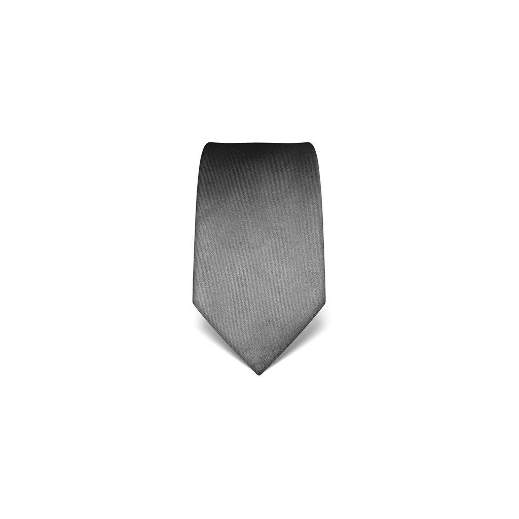 Tmavě šedá hedvábná kravata