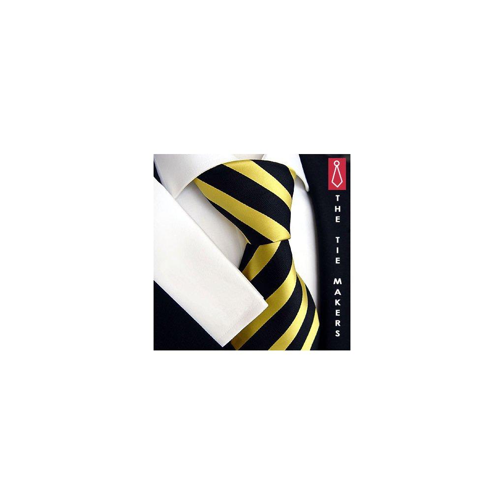 Výrazná kravata Beytnur 44-1 žluto černá pruh