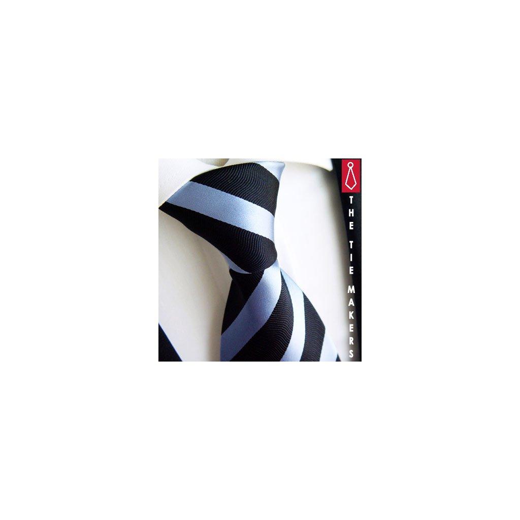 Jednoduchá černo modrý pruh kravata Beytnur 44-7