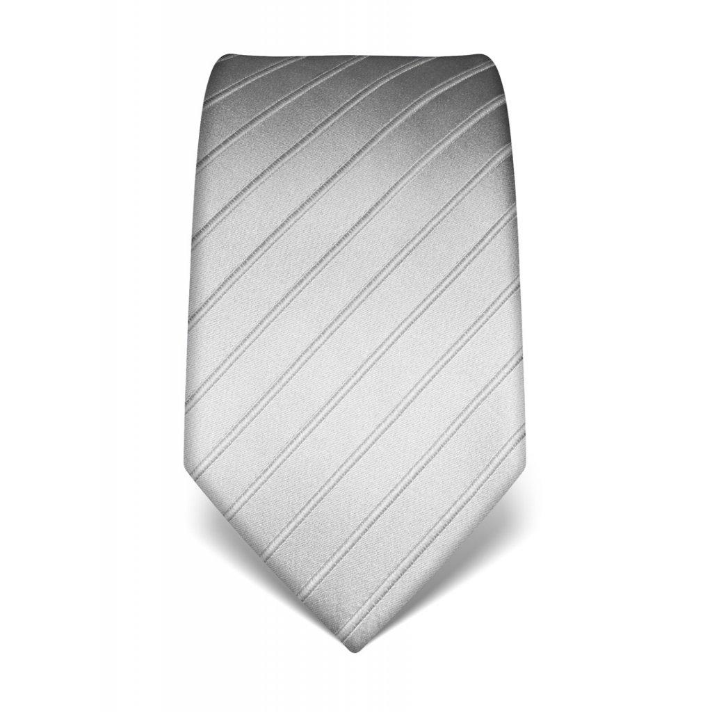 Stříbrná kravata s vystouplým pruhem ton in ton