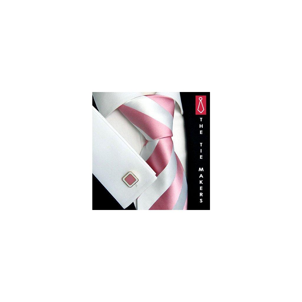 Luxusní hedvábná kravata smetanová s růžovým pruhem 114-5