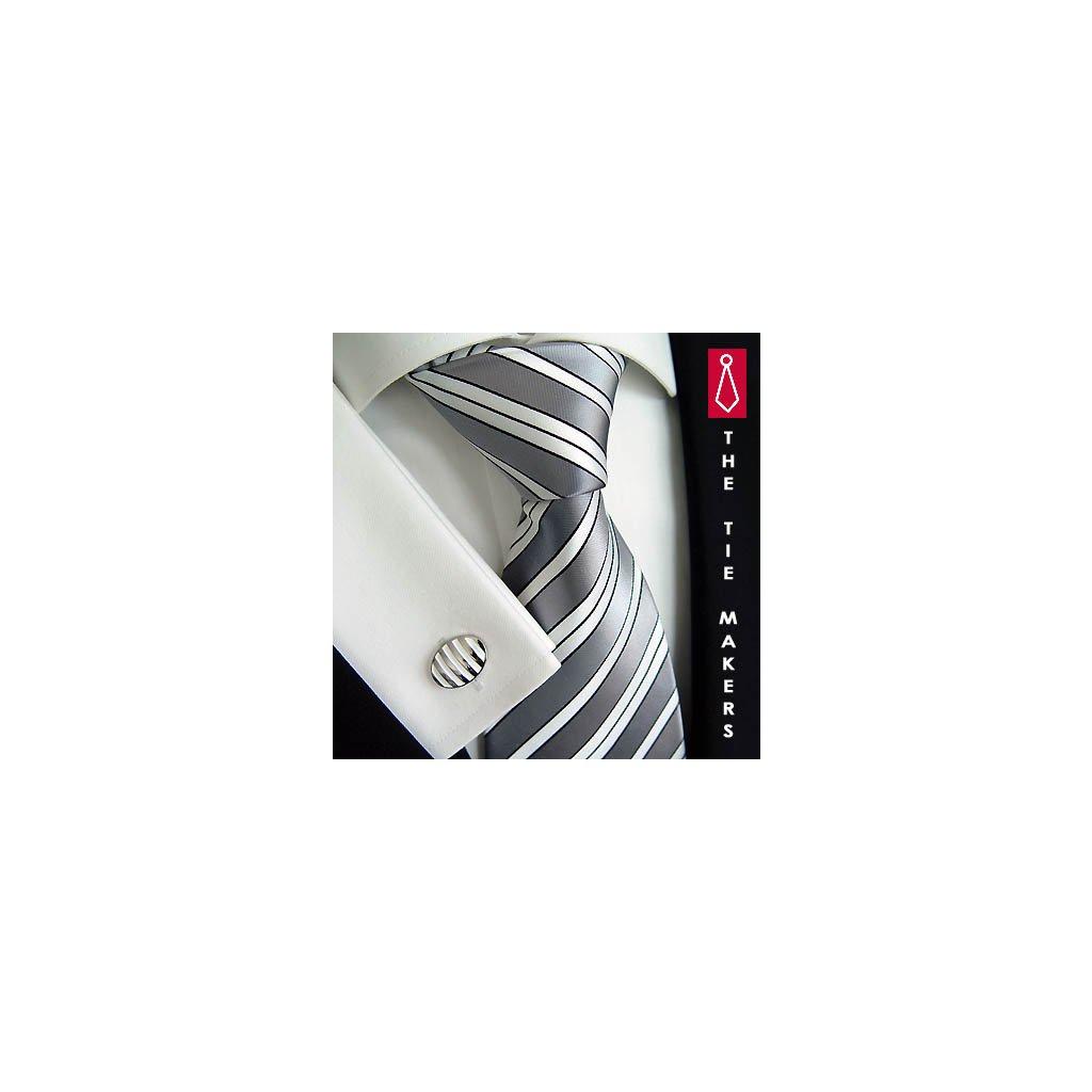 Luxusní hedvábná stříbrná s bílým pruhem 195-2
