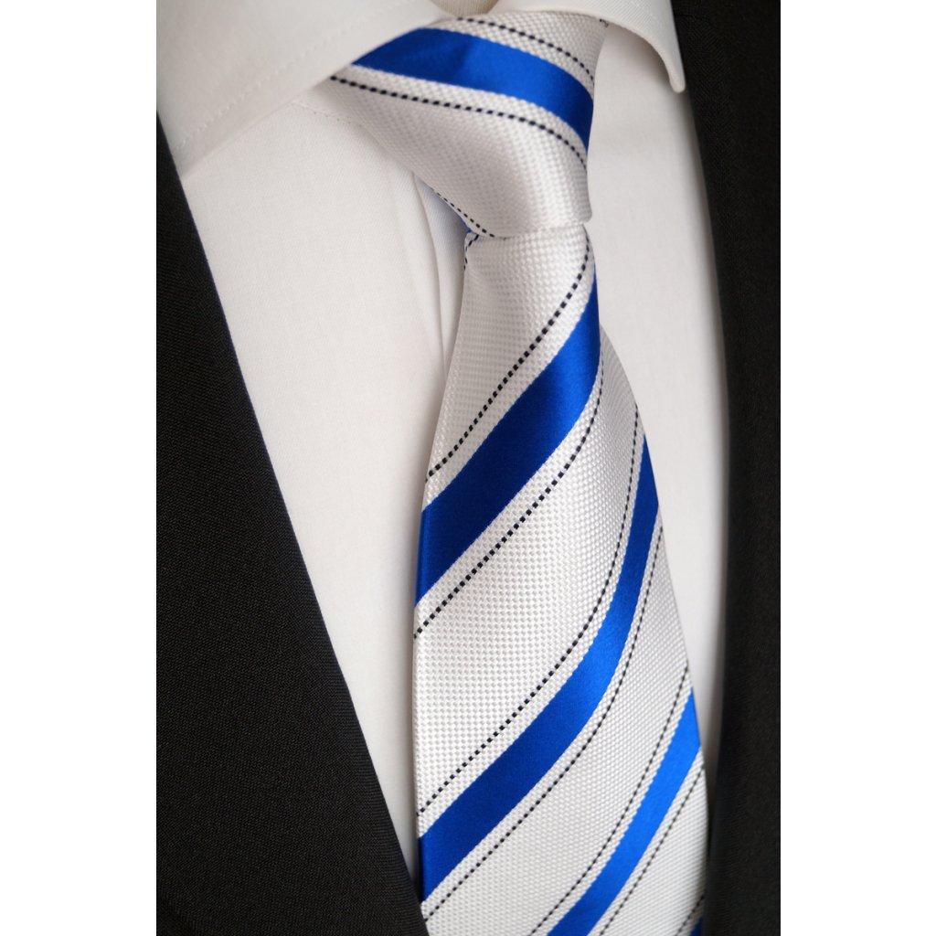 Luxusní hedvábná kravata bíla s modrým pruhem 101-4