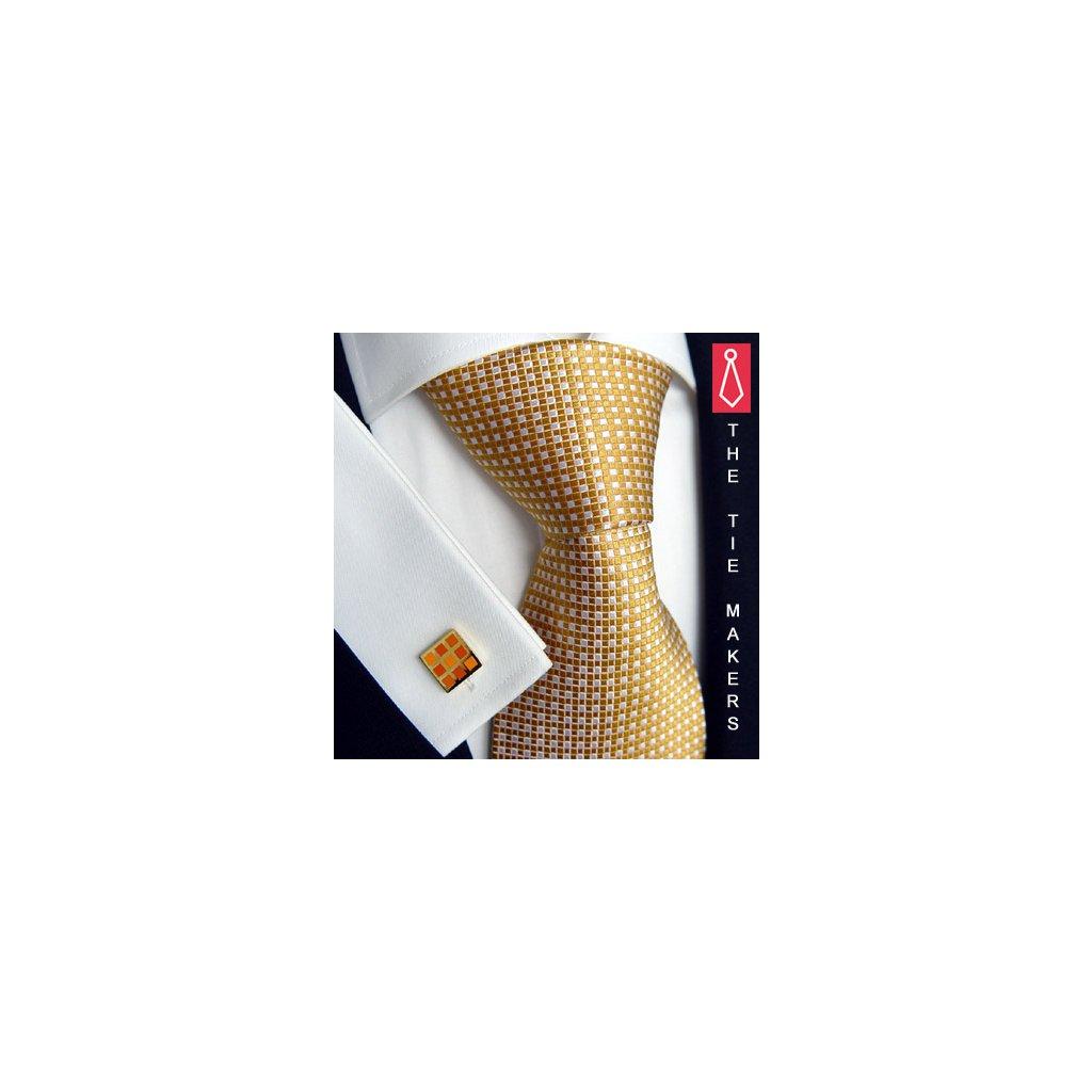 Luxusní hedvábná kravata zlatá 102-2