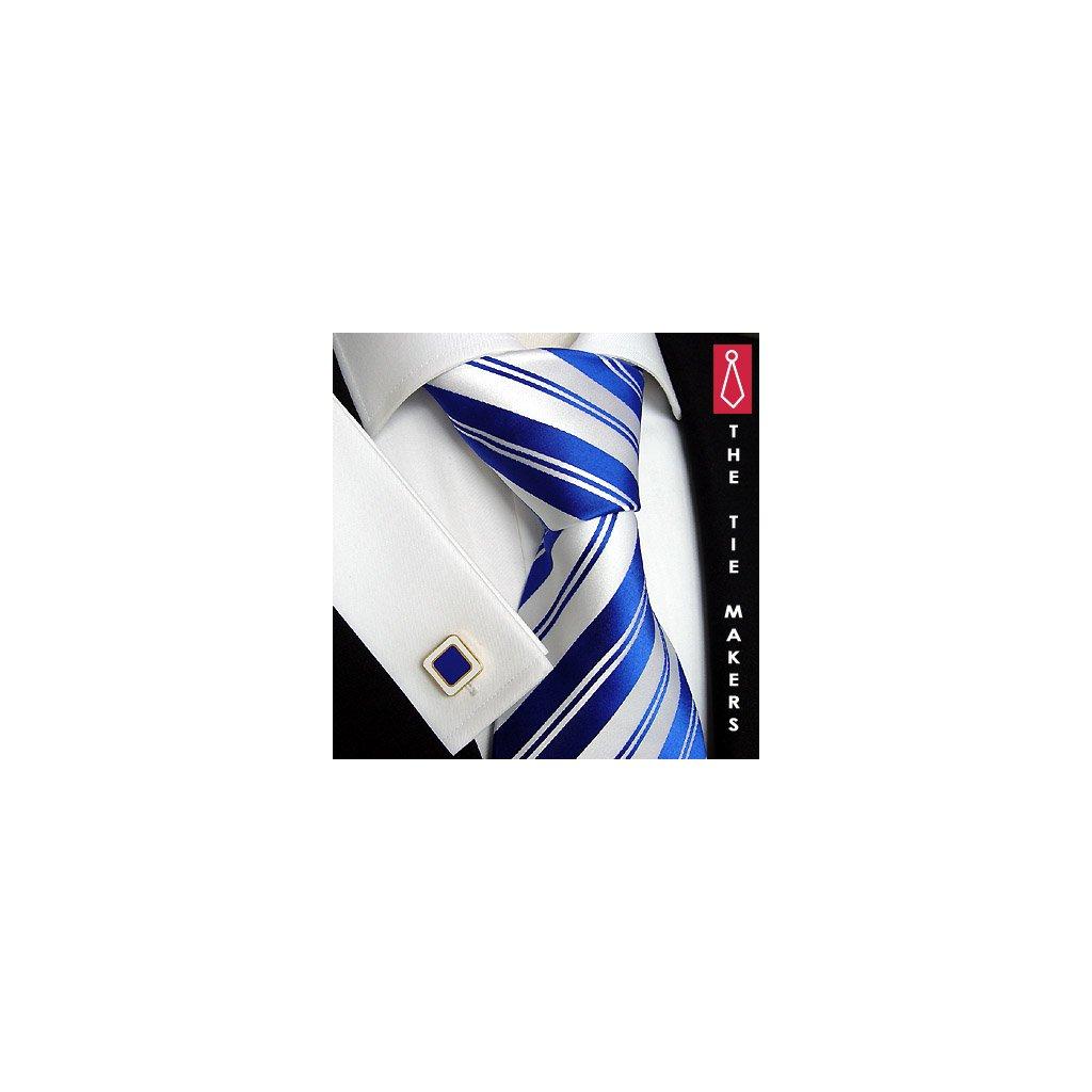 Luxusní hedvábná kravata modrá s bílým pruhem 103-1