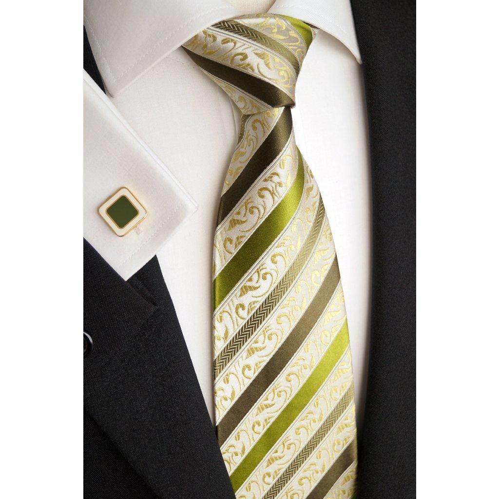 Svatební hedvábná kravata zelená 177-3
