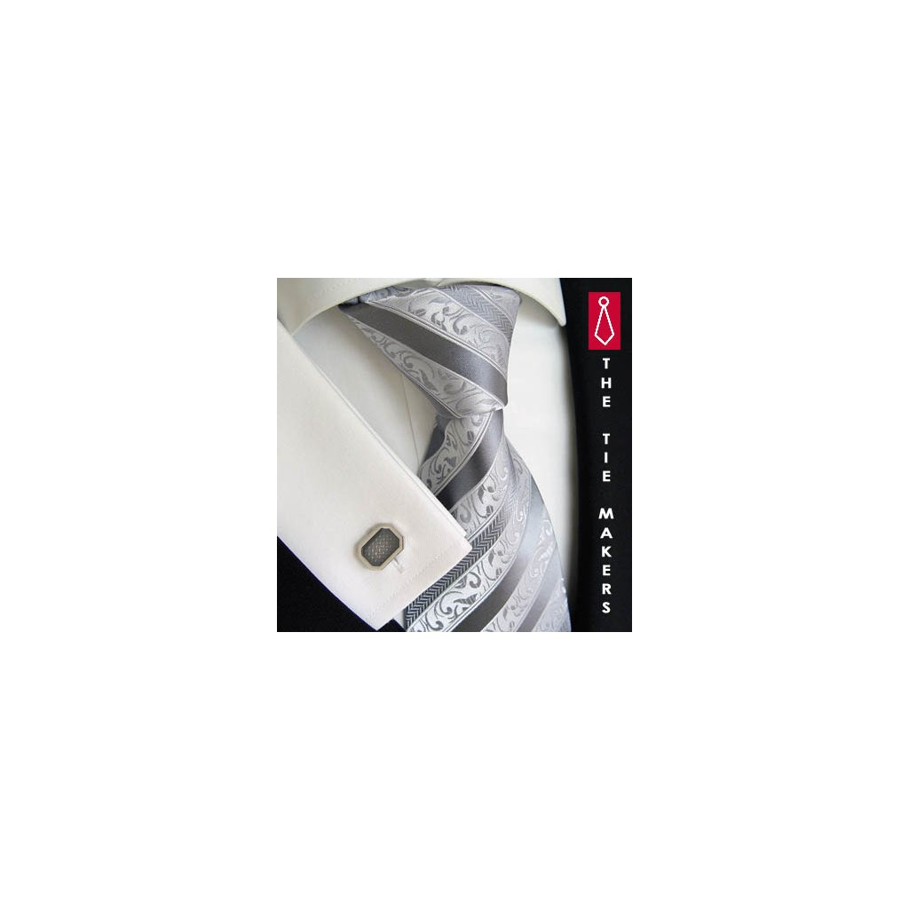 Svatební hedvábná kravata stříbrná 177-5