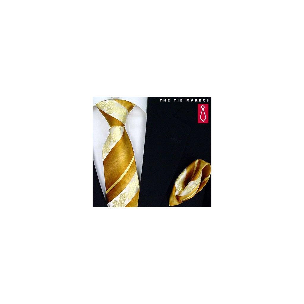 Beytnur 206-3 zlatá, žlutá nevšední kravata, kapesníček