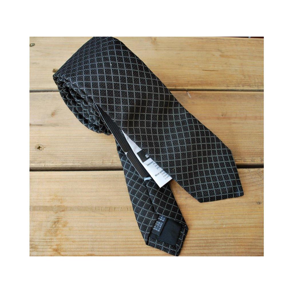 Bugatti úzká značková kravata - prošitá kosočtverce