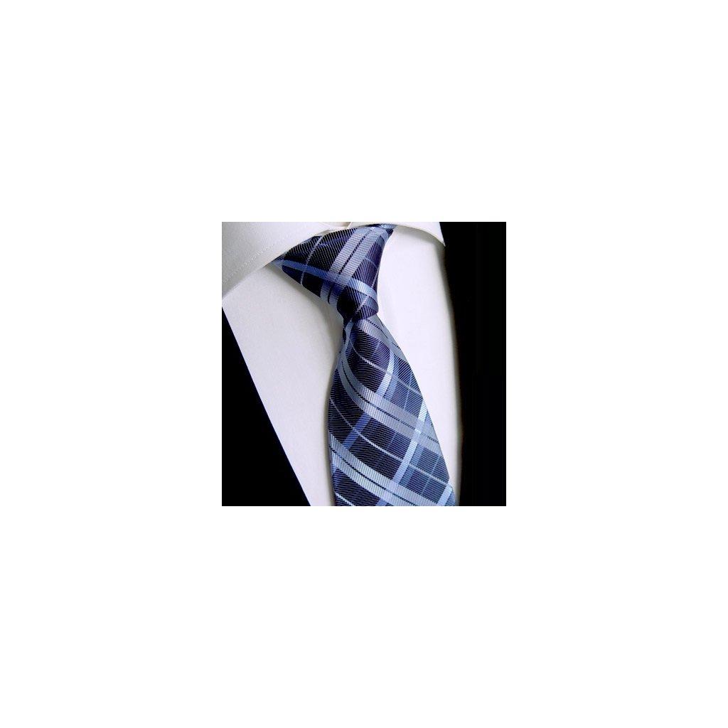 Beytnur 183-4 hedvábná kravata modrá karo