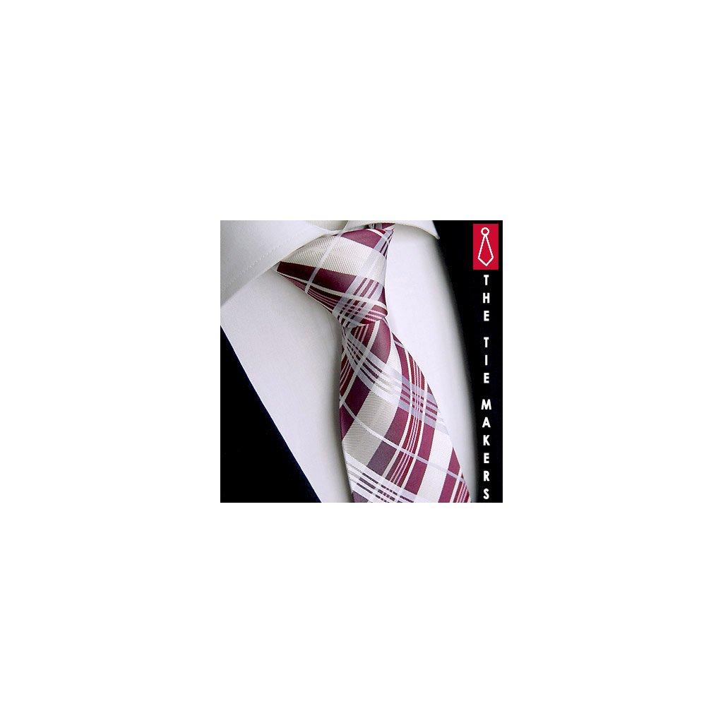 Beytnur 238-2 hedvábná kravata bílo růžová karo