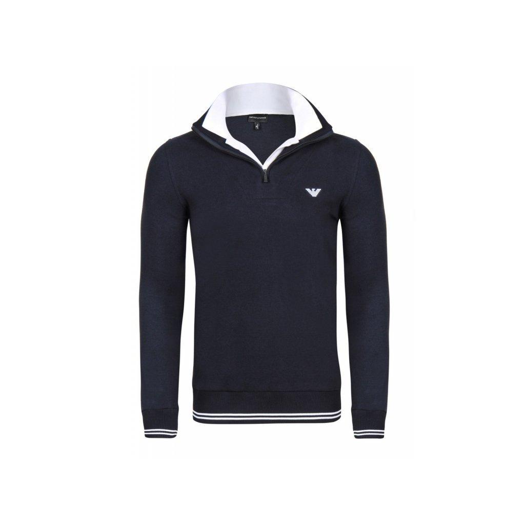 ARMANI pánský svetr tmavě modrý na zip - Luxusní móda 1077c6dd2e