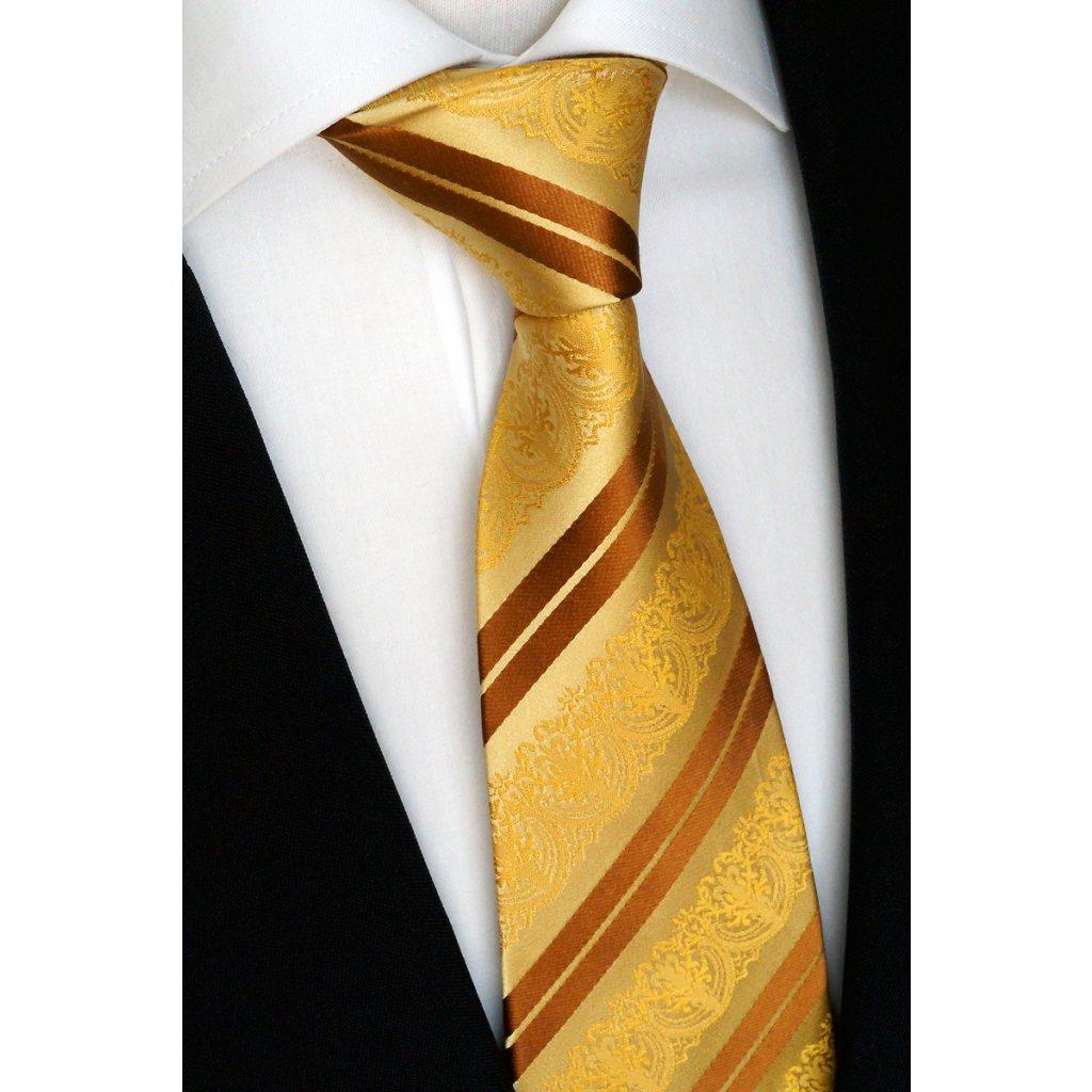 zlatá žlutá hedvábná kravata 2