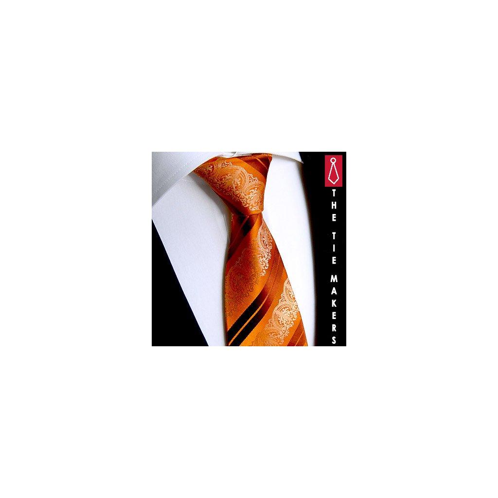 Beytnur 199-8 hedvábná kravata oranžová paisley