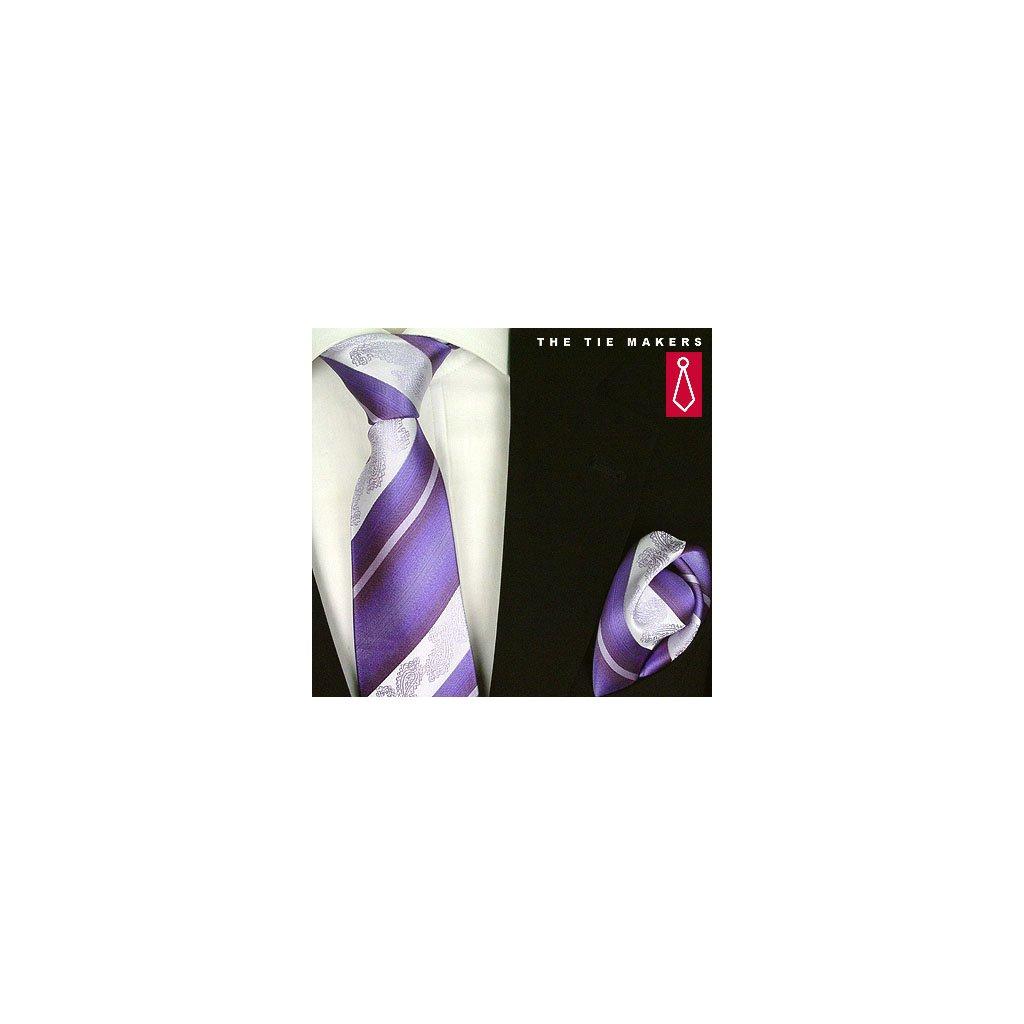 Beytnur 206-4 fialová nevšední kravata, kapesníček