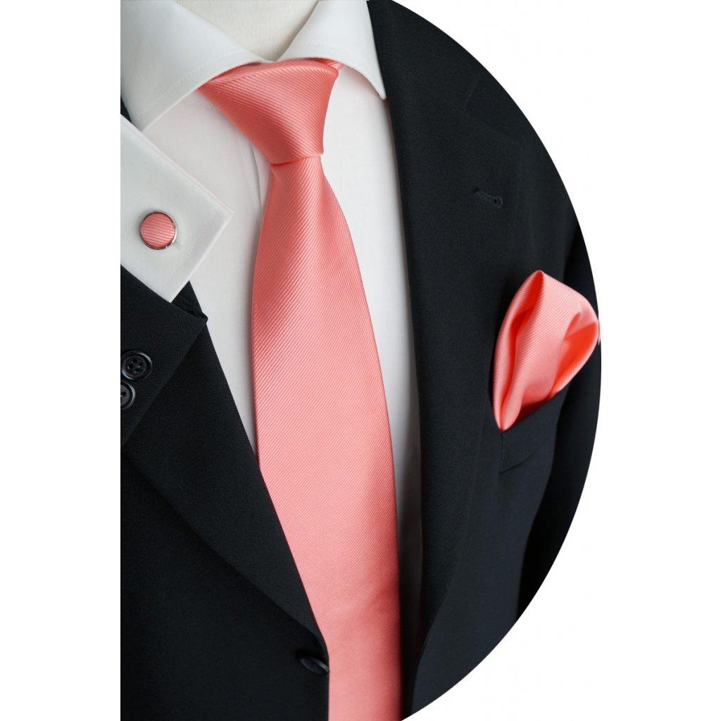 Lososová kravata kapesníček