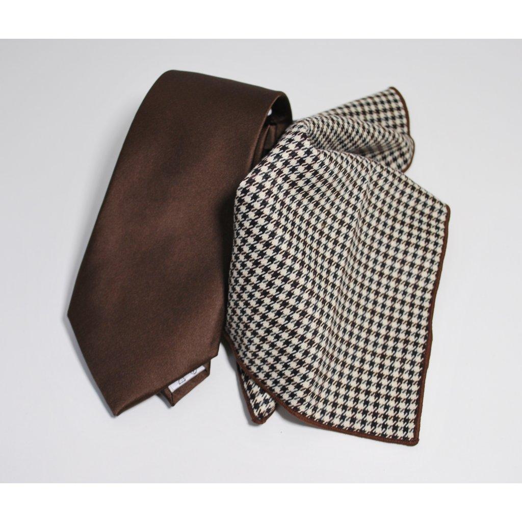 Kravata a kapesníček hnědá podzimní móda