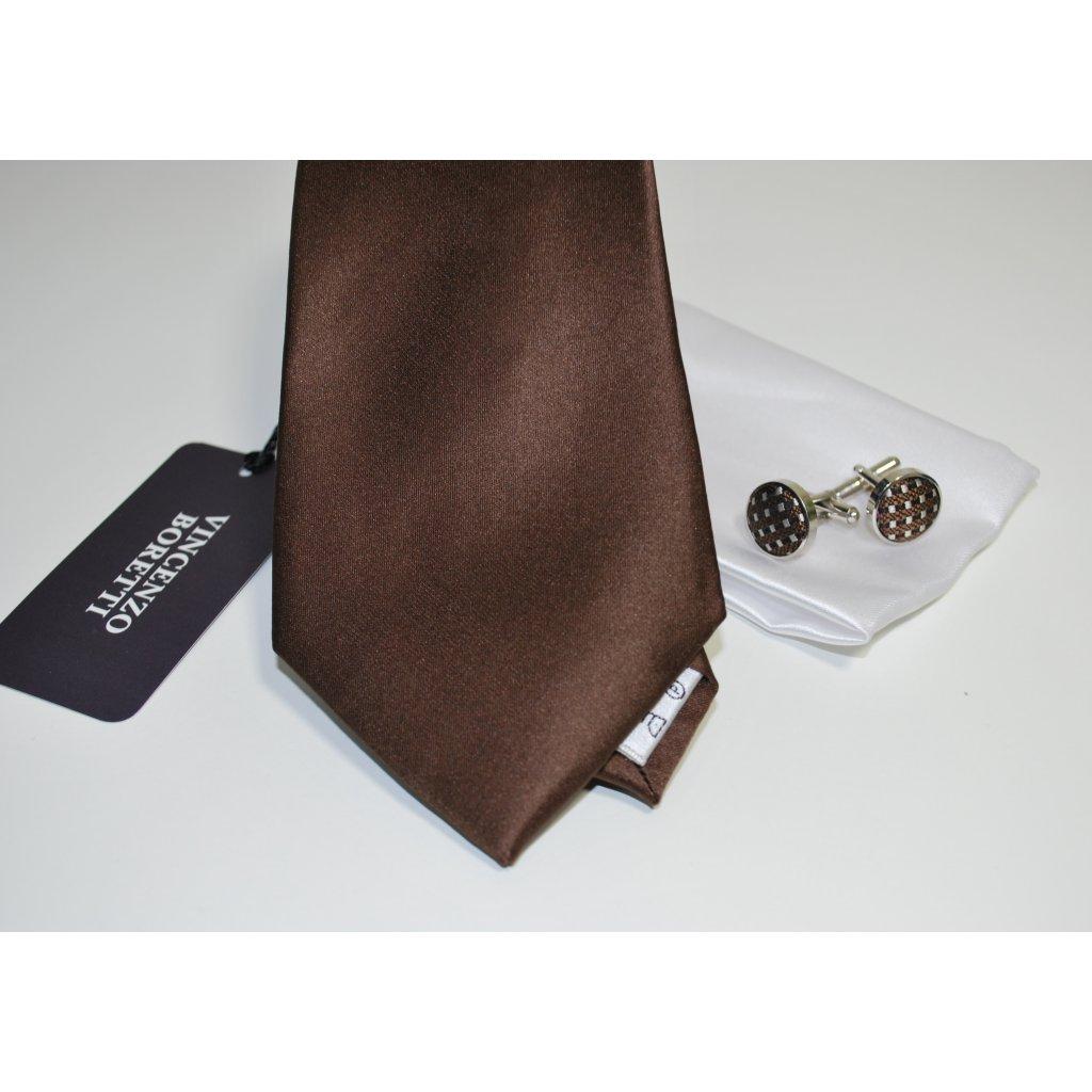 Luxusní set kravaty, kapesníčku a knoflíčků