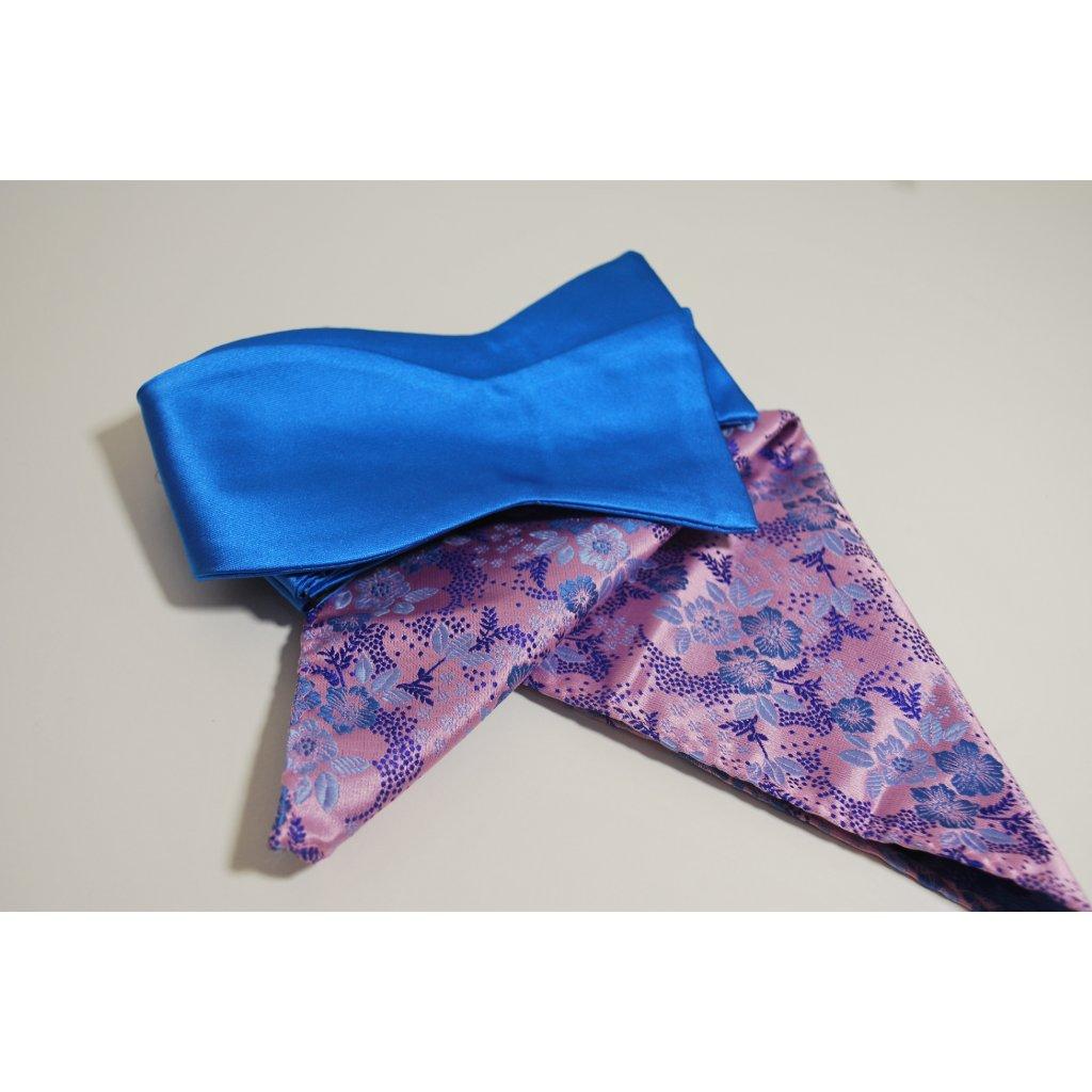 Modrý set motýlek a kapesníček