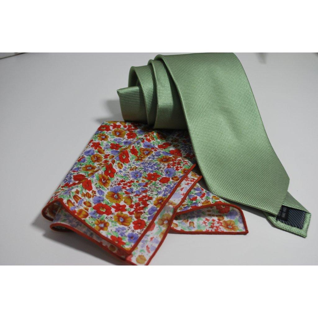 Zelený set kravaty a kapesníčku