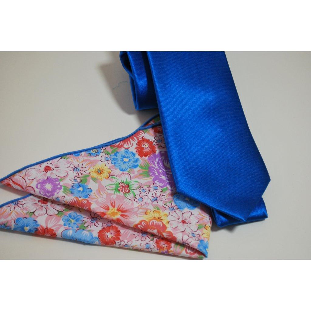 Modrá set kravaty a kapesníčku