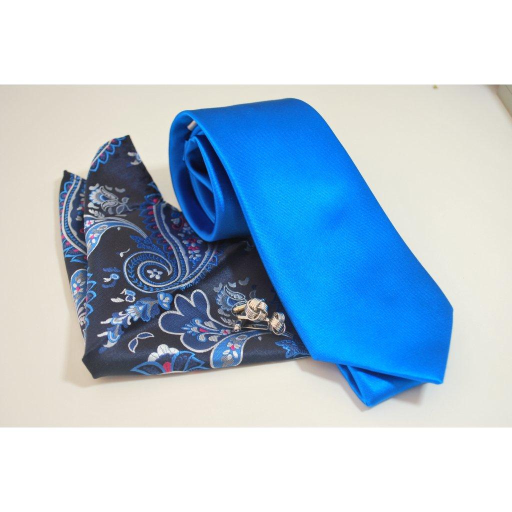 Modrý set kravaty, kapesníčku a knoflíčků