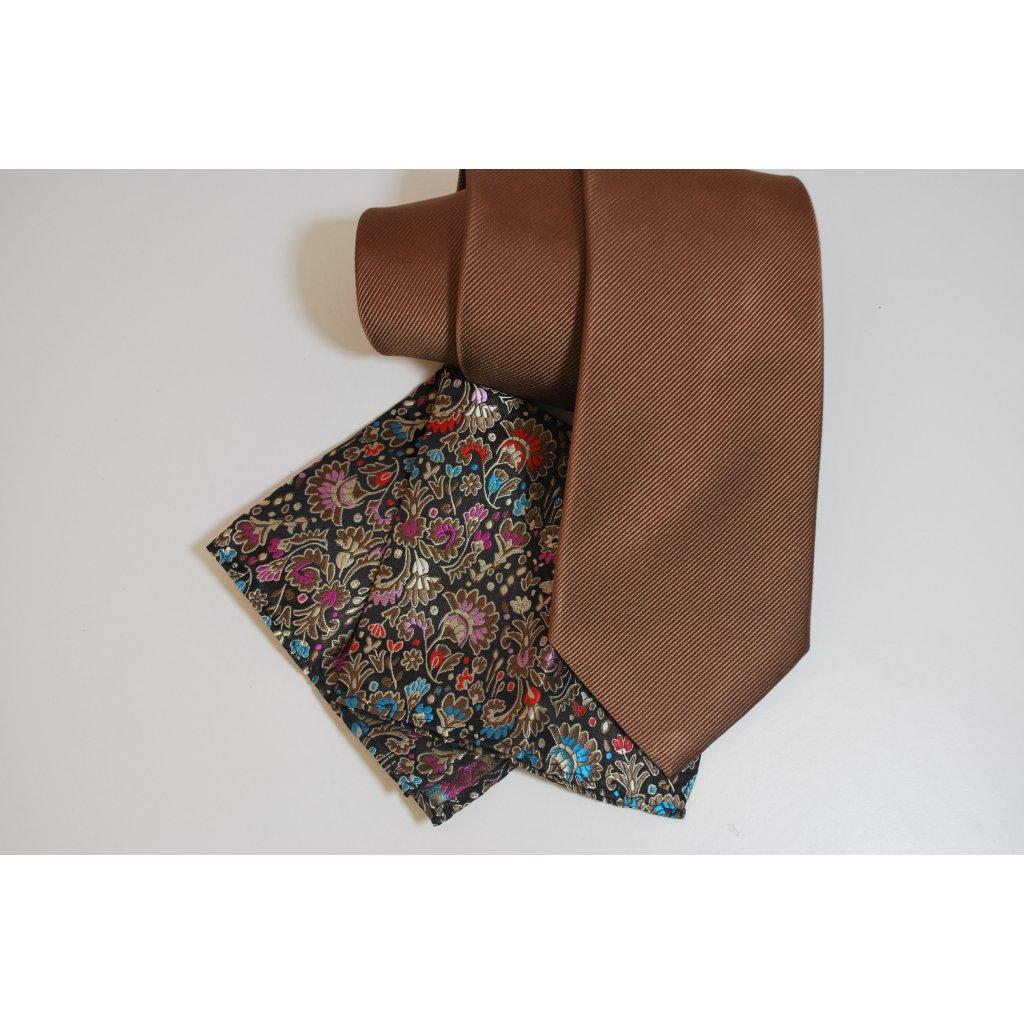 Hnědý set kravaty a kapesníčku