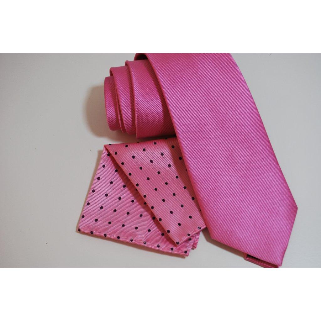 Růžový set kravaty a kapesníčku