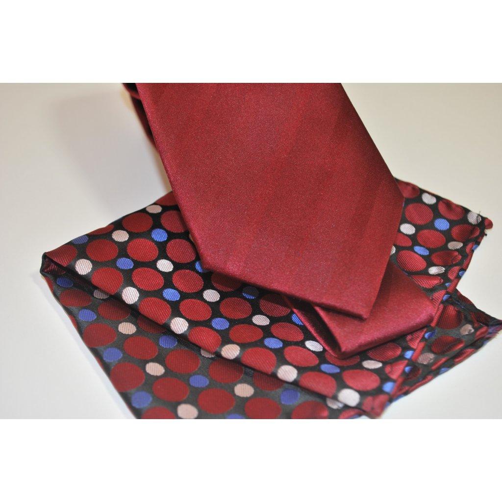 Vínový set kravaty a kapesníčku