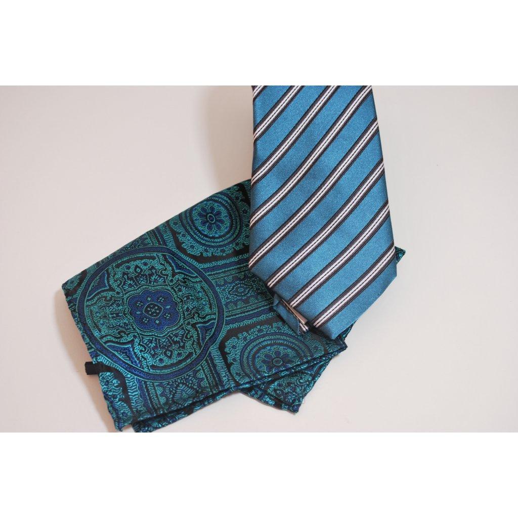 Zeleno modrý set kravaty a kapesníčku