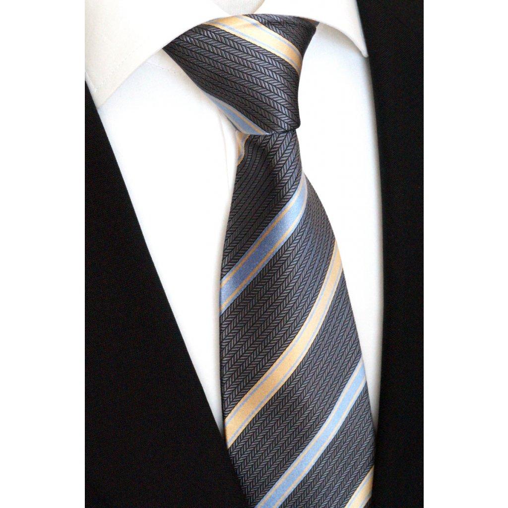 šedá hedvábná kravata s pruhy