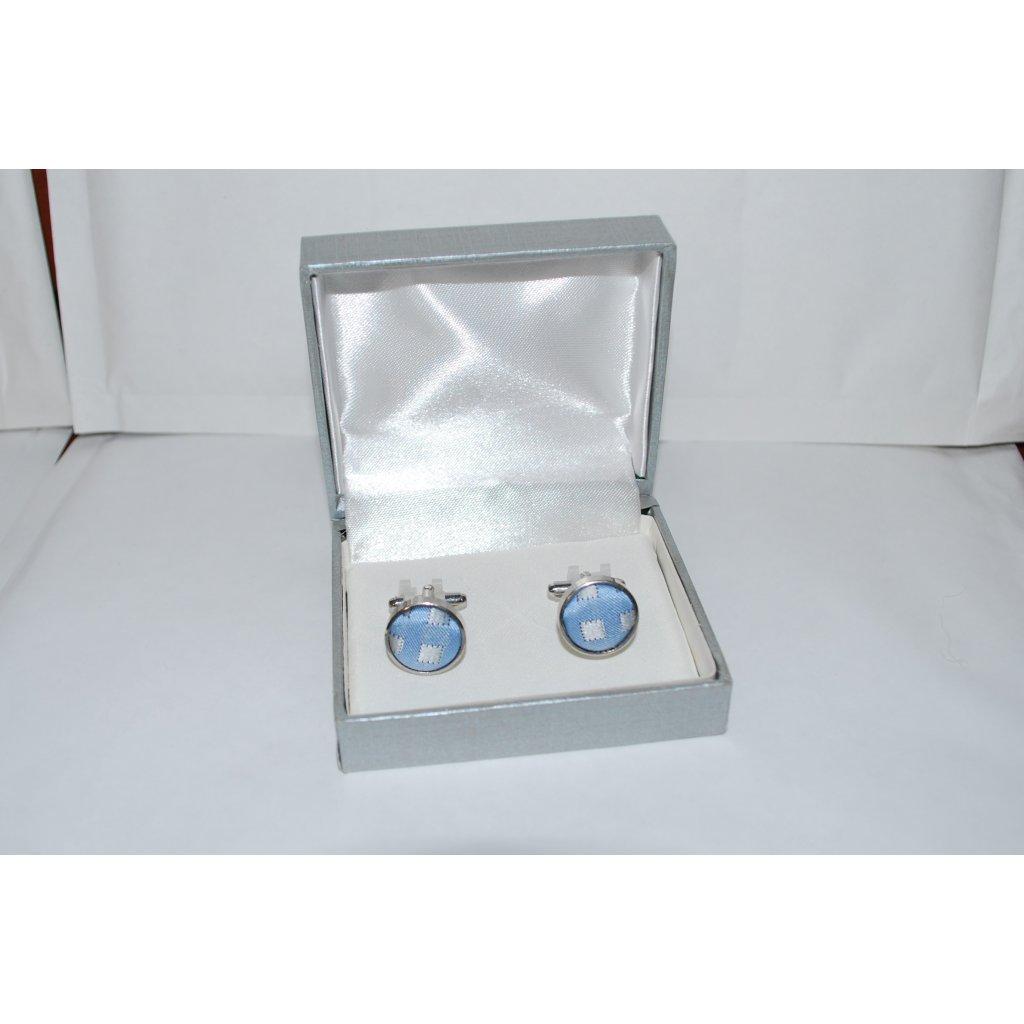 Manžetové knoflíčky jednobarevné modré kostka