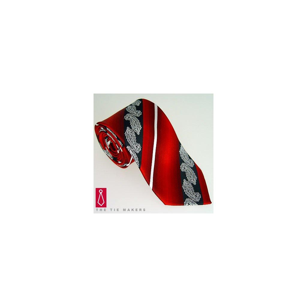 daf61e38cff Originální hedvábná kravata vzor paisley červená Beytnur 206-5 ...