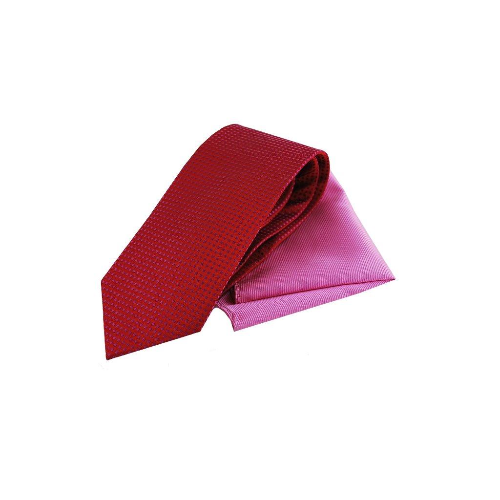 Červeno růžový set, kravaty a kapesníčku