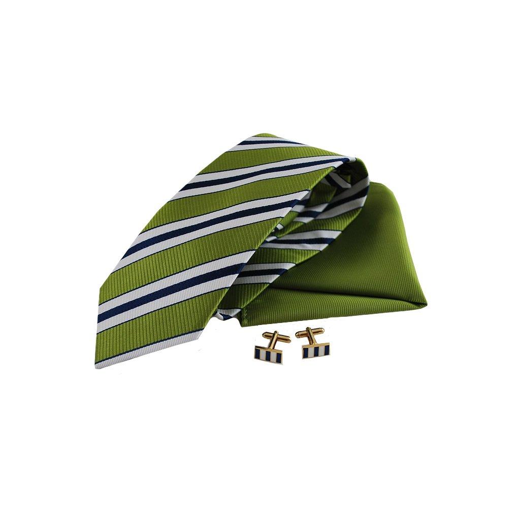 Zelený set, kravaty, kapesníčku a knoflíčků