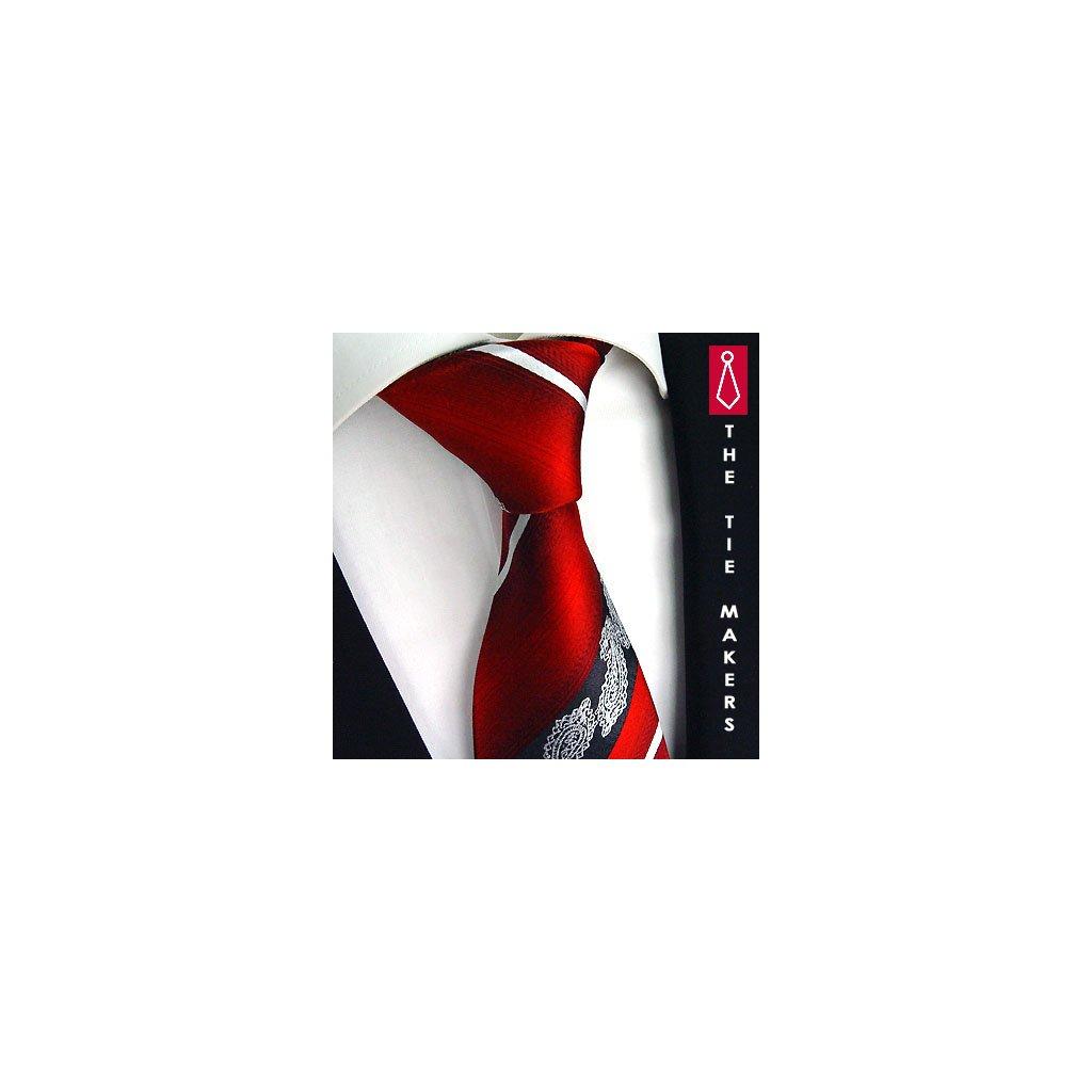 Originální hedvábná kravata vzor paisley červená Beytnur 206-5