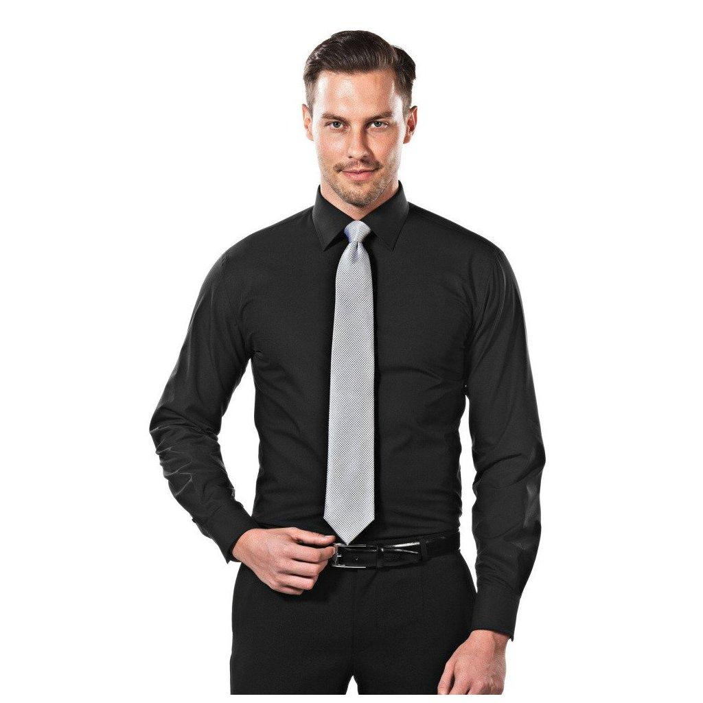 Černá košile slim fit Vincenzo Boretti - Luxusní móda a703533c6f