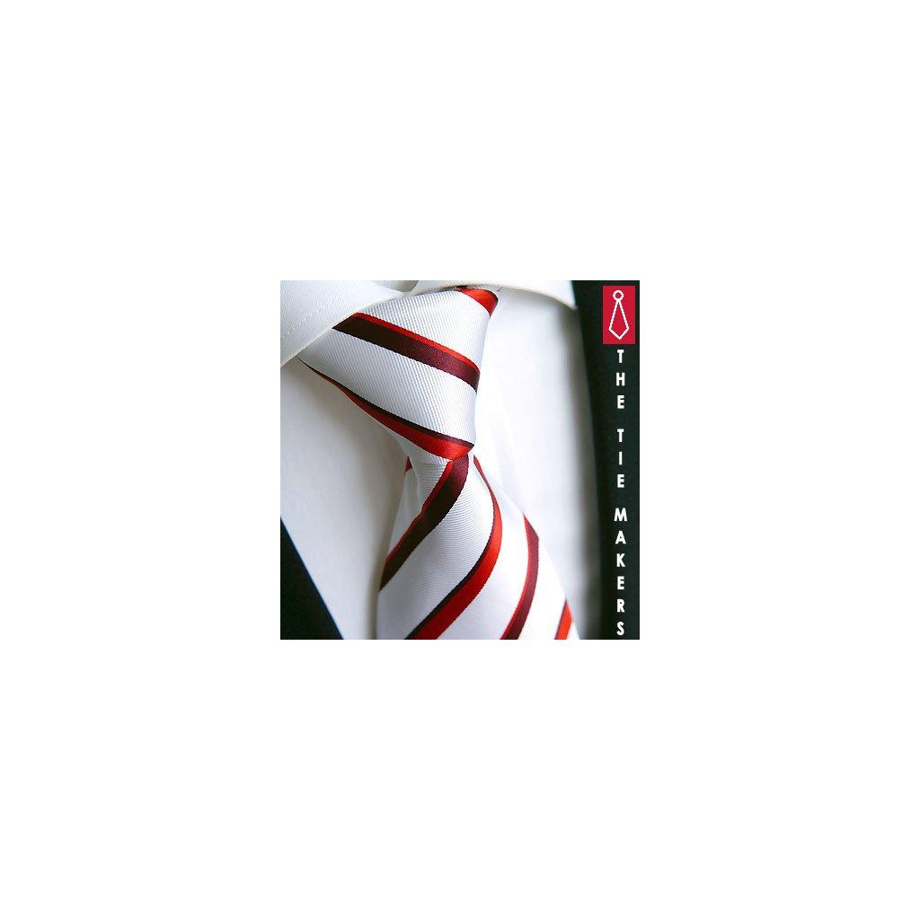 Hedvábná kravata Beytnur 18-9 bílo červená