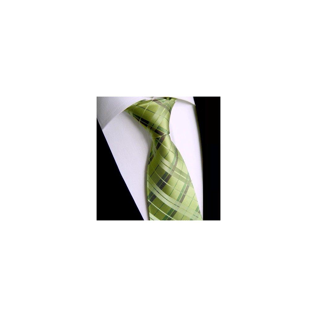 Beytnur 183-5 hedvábná kravata zelené karo