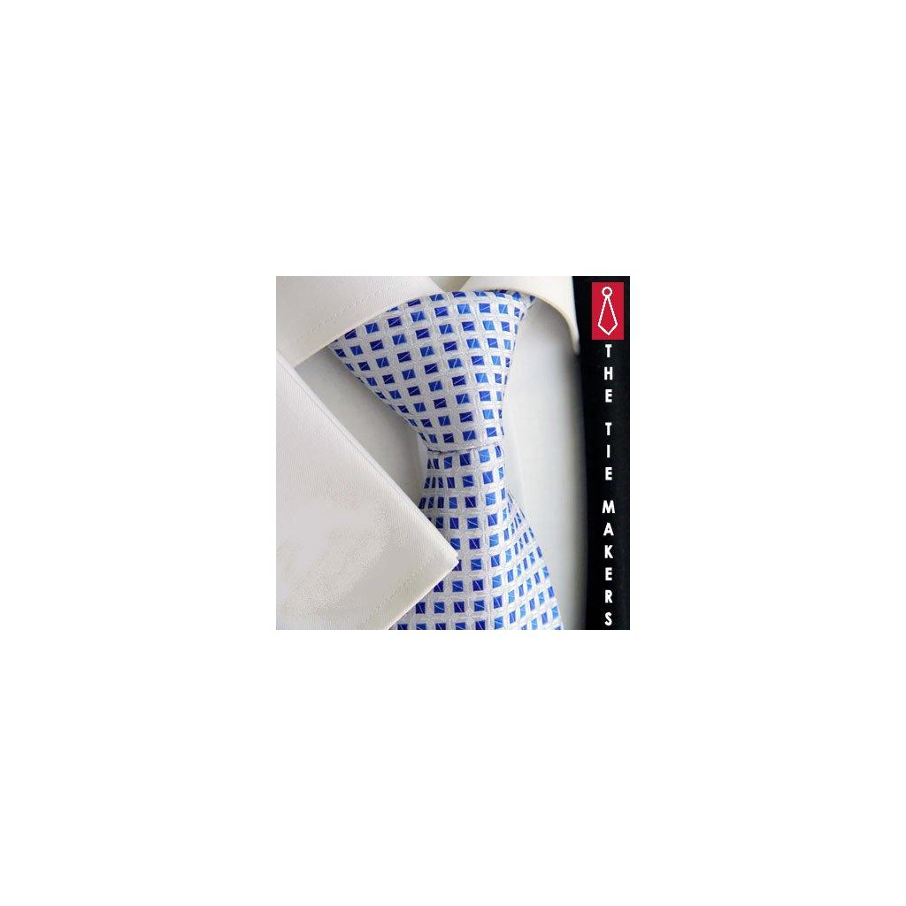 Luxusní kravata světlá s modrými čtverečky 216-2