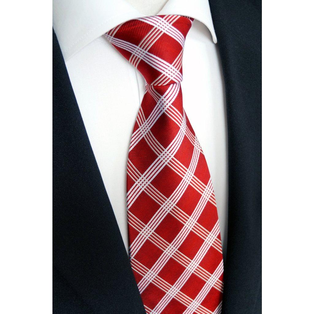 Elegantní červená kravata karo Beytnur 169-1