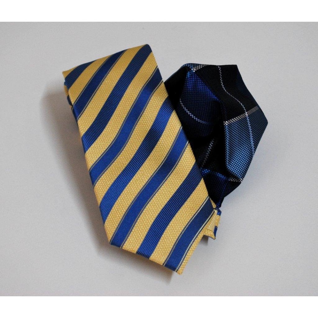 Modrý set kravaty a kapesníčku