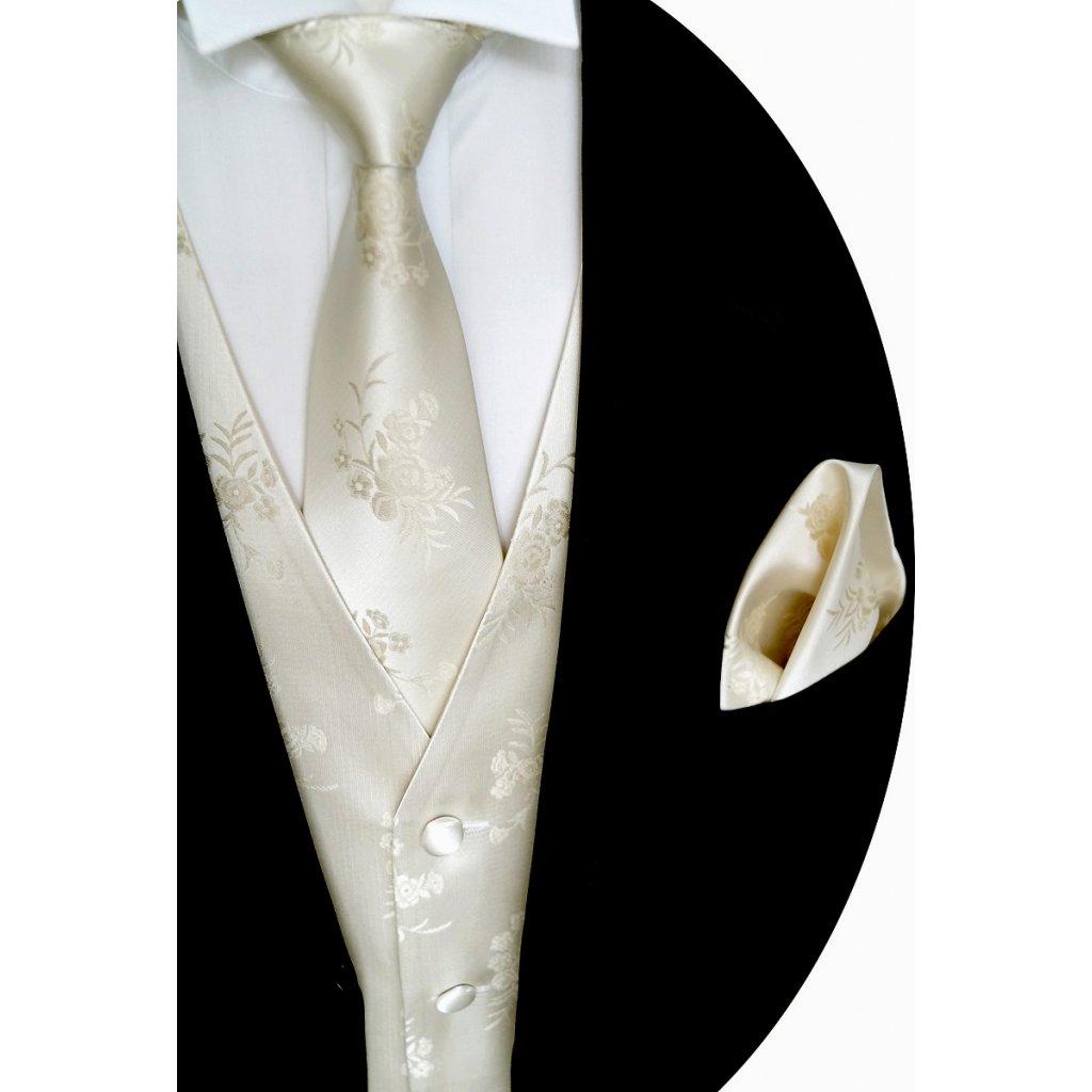 Svatební vesta Beytnur 10-1 kravata, plastron a kapesníček