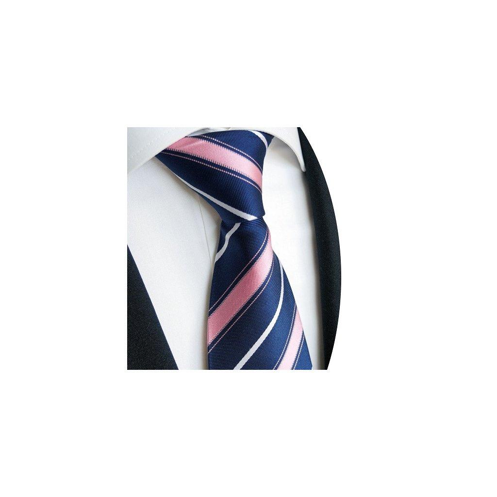Luxusní modrá kravata Beytnur 221-2 - růžový pruh
