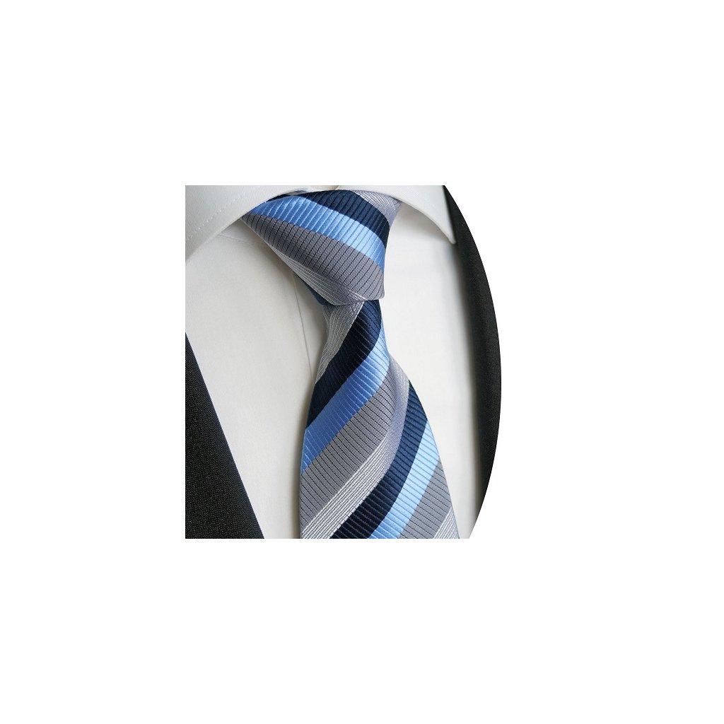 Luxusní pruhovaná kravata Beytnur 228-1 - modrá