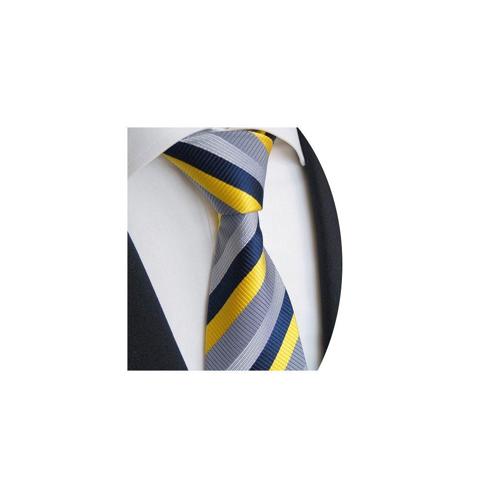 Luxusní pruhovaná kravata Beytnur 228-2 - žlutá