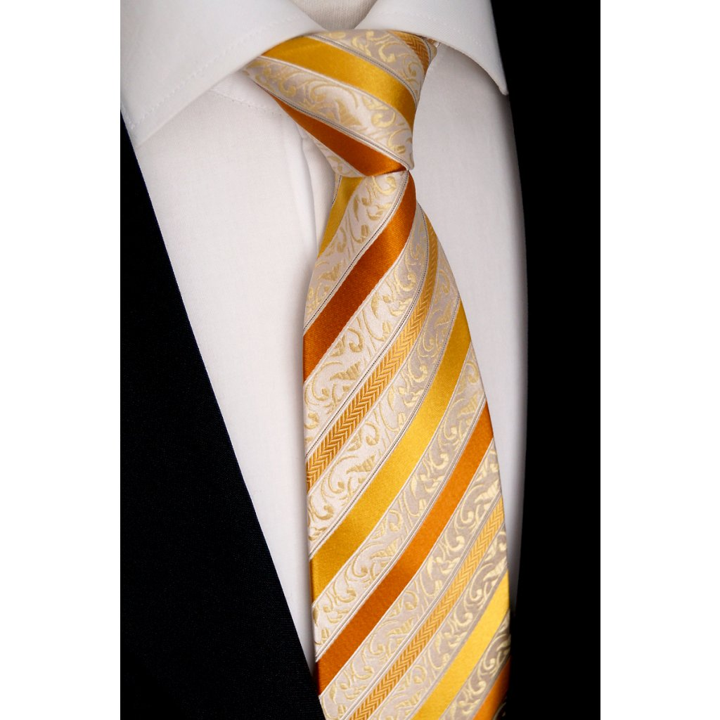 Beytnur 177-2 luxusní hedvábná kravata zlatá