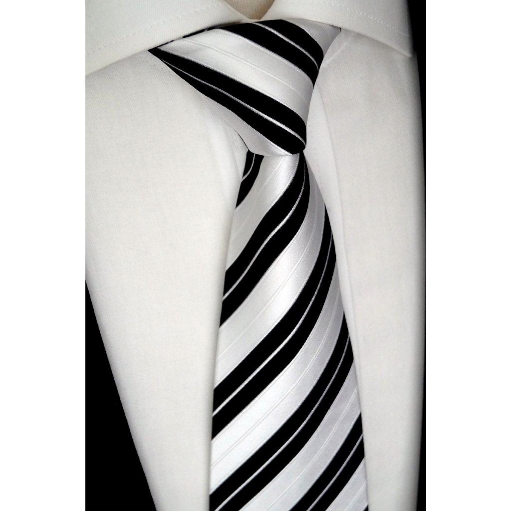 bílo černá hedvábná kravata
